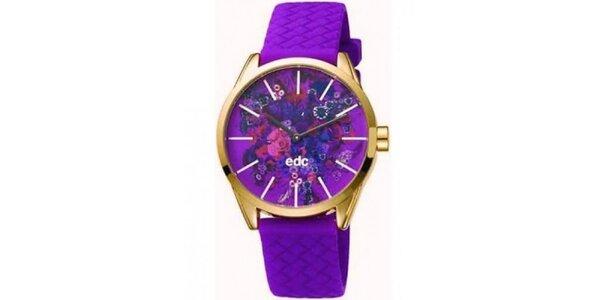Dámske fialové hodinky EDC by Esprit s kvetinovým ciferníkom