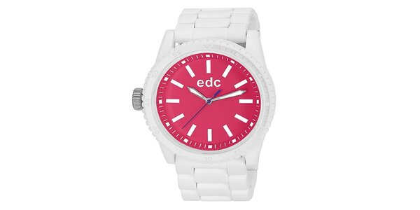 Dámske biele hodinky s ružovým ciferníkom EDC by Esprit