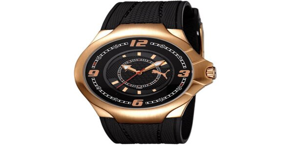 Pánske čierno-zlaté analógové hodinky Puma