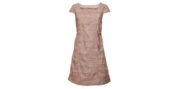 Dámske ružové kockované šaty Loap