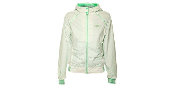 Dámska biela športová bunda Loap so zelenými detailmi