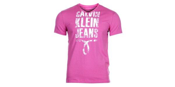 Pánske svetlo ružové tričko Calvin Klein s potlačou