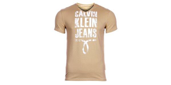 Pánske béžové tričko Calvin Klein s potlačou