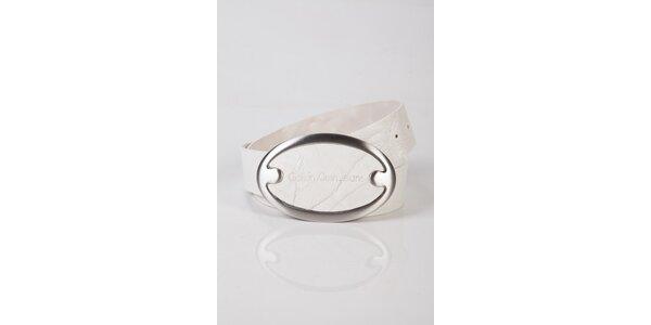 Pánsky biely kožený opasok Calvin Klein