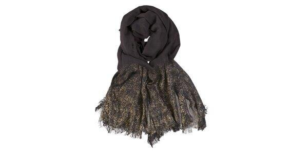 Dámsky čierny šál so zlatou potlačou Invuu