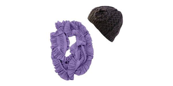 Dámsky set fialového nariaseného nákrčníku a čiernej čiapky Invuu