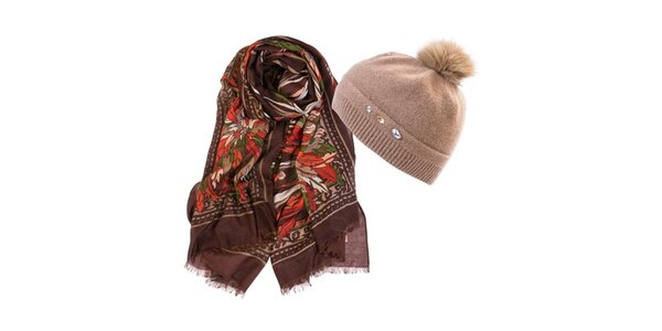 Dámsky set čiapky a hnedej šatky Invuu