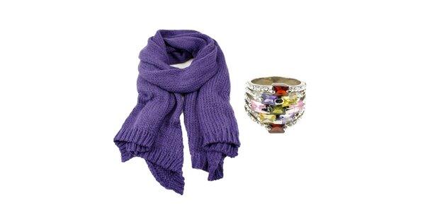 Dámsky set prsteňa a fialového šálu Invuu