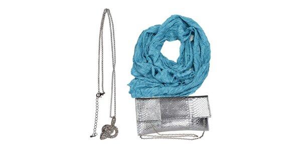 Dámsky set tašky, náhrdelníku a modrej šatky Invuu