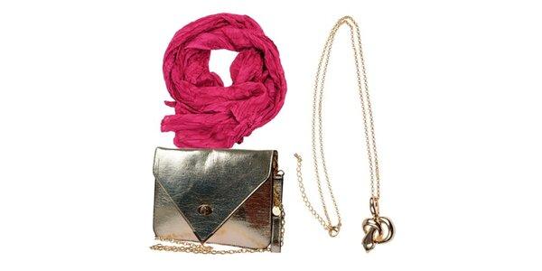 Dámsky set tašky, náhrdelníku a ružovej šatky Invuu