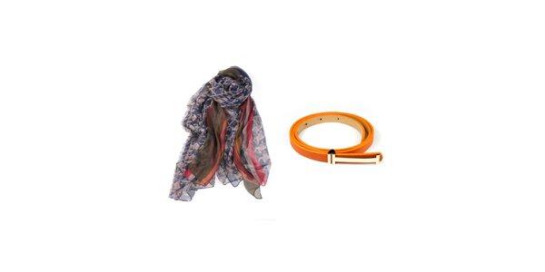Dámsky set potlačenej šatky a oranžového opasku Invuu