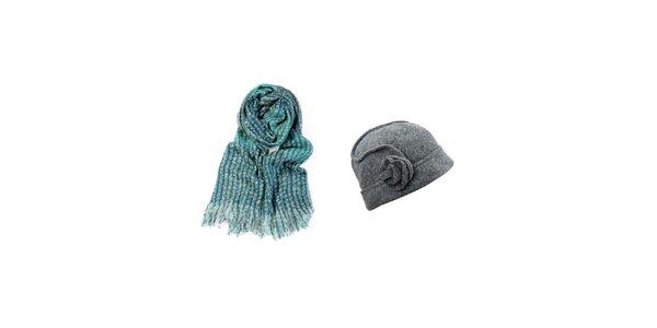 Dámsky set tyrkysového šálu a šedého klobúčika Invuu