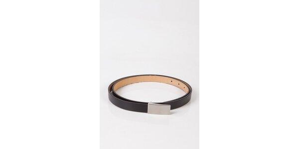 Dámsky čierny úzky kožený opasok Calvin Klein