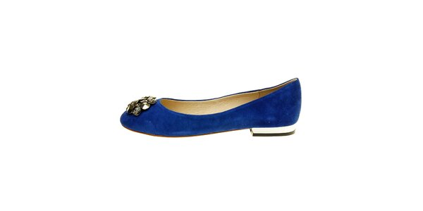 Dámske modré semišové baleríny Hope s korálkovou aplikáciou