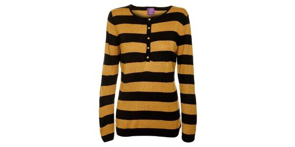 Dámsky čierno-hnedý prúžkovaný sveter Hope so zlatými gombíčkami
