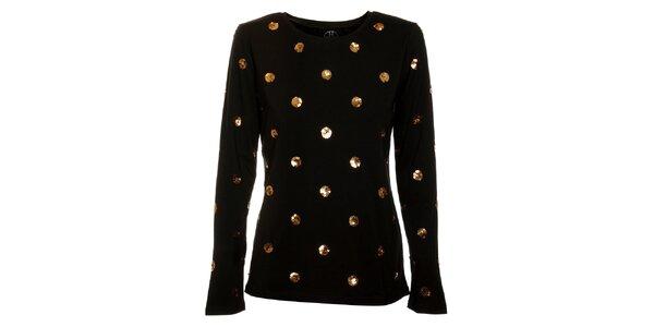 Dámske čierne tričko Hope so zlatými flitrami