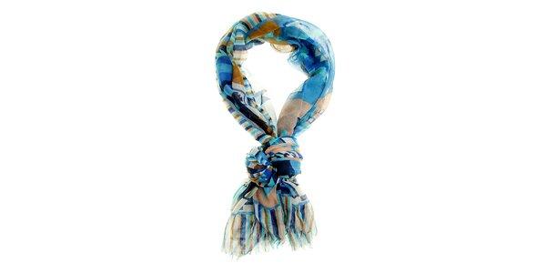 Dámsky béžovo-modrý šál Hope s aztéckym vzorom