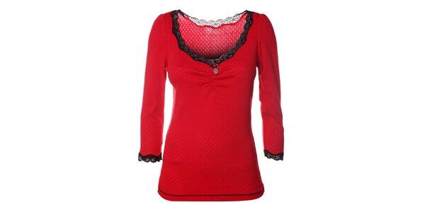 Dámske červené tričko s čipkou Vive Maria