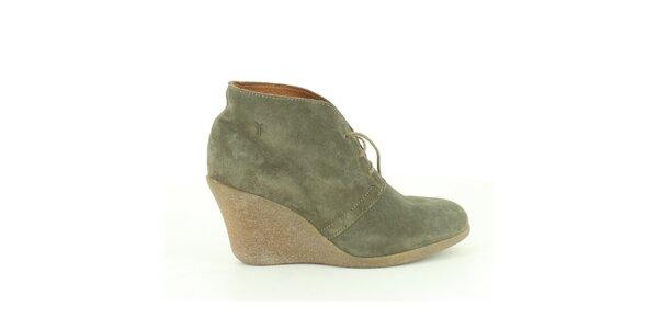 Dámske šedo-zelené semišové členkové topánky Foreva