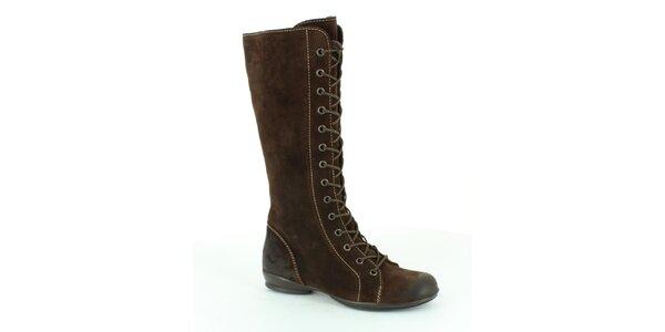 Dámske hnedé vysoké šnúrovacie topánky Foreva