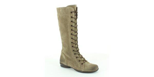 Dámske šedo-béžové vysoké šnúrovacie topánky Foreva