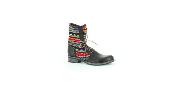 Dámske čierne topánky s farebným úpletom Foreva