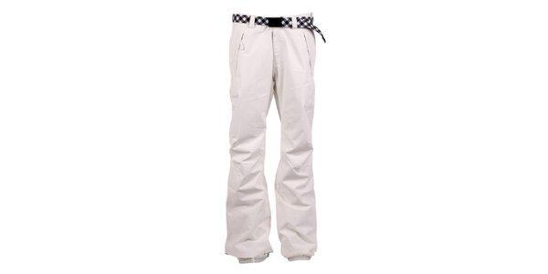 Dámske biele nohavice na snb s kockovaným opaskom O'Neill