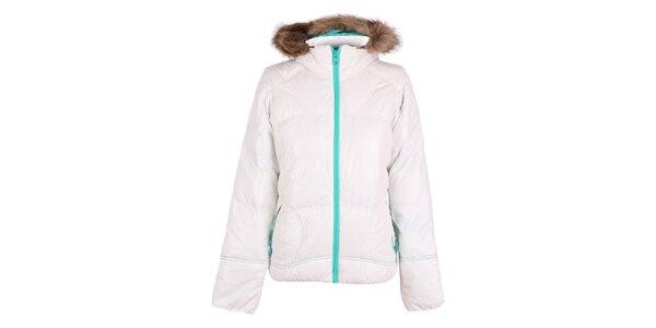 Dámska biela bunda so zeleným zipsom O'Neill
