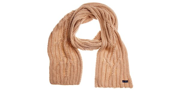 Dámsky krémový pletený šál Fraas