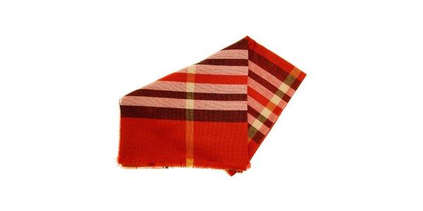 Dámska tehlovo červená pašmína s kockou Fraas