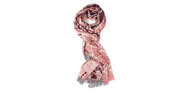 Dámsky červeno-vínový vzorovaný šál Fraas