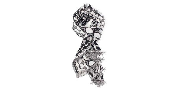 Dámsky bielo-čierny šál so vzorom Fraas