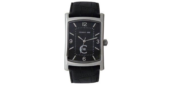 Pánske analógové hodinky Cerruti 1881 s čiernym koženým remienkom