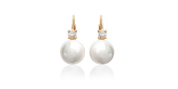 Dámske perlové náušnice s kamienkami La Mimossa