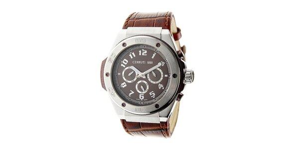 Pánske hnedé oceľové hodinky s chronografom Cerruti 1881