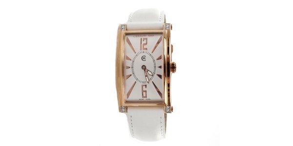 Dámske zlato-biele hranaté hodinky Cerruti 1881