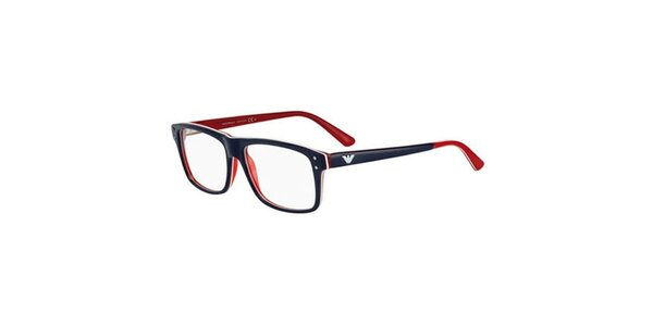 Modro-červené hranaté okuliare Emporio Armani