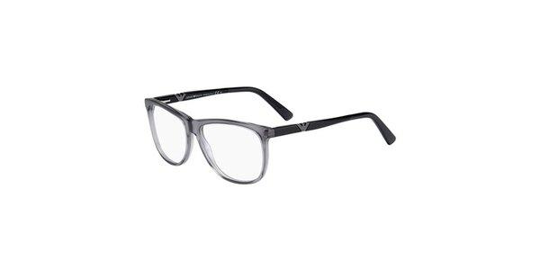 Šedo-čierne plastové okuliare Emporio Armani