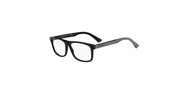 Čierno-šedé hranaté okuliare Emporio Armani