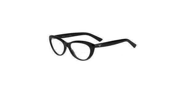 Čierne zaoblené okuliare Emporio Armani