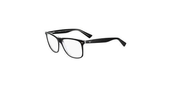 Čierne hranaté okuliare Emporio Armani