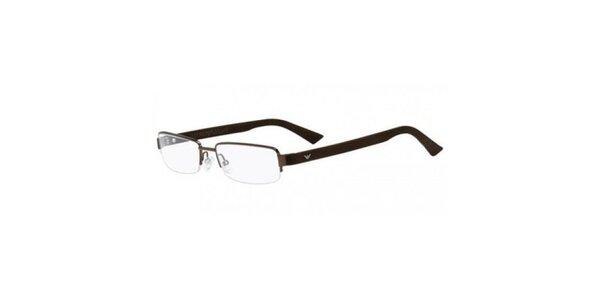 Tmavo hnedé dioptrické okuliare Emporio Armani