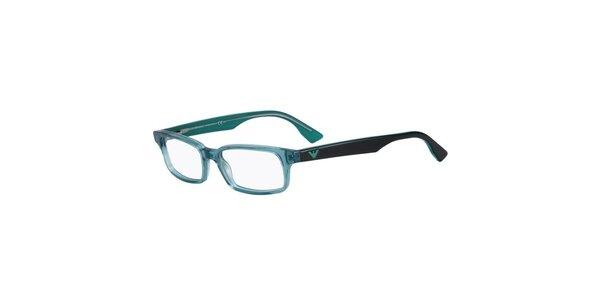 Tyrkysovo-čierne hranaté okuliare Emporio Armani