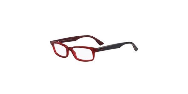 Červeno-čierne hranaté okuliare Emporio Armani