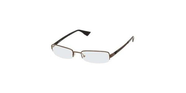 Pánske hnedé kovové okuliare Emporio Armani