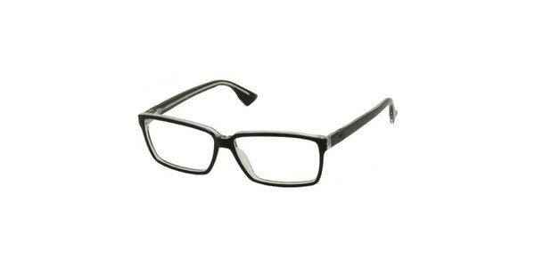 Pánske hranaté retro okuliare Emporio Armani čierne