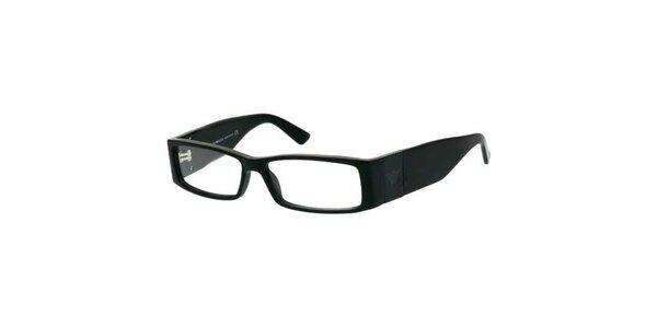 Unisexové široké čierne okuliare Emporio Armani