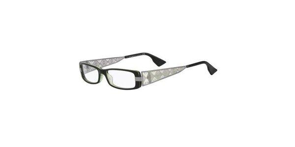 Dámske čierno-strieborné okuliare s perforovanými stranicami Emporio Armani