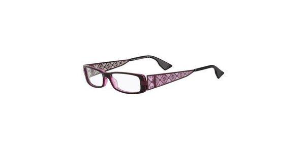 Dámske tmavo fialové okuliare s perforovanými stranicami Emporio Armani
