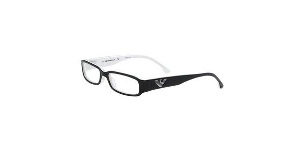Čierno-biele okuliare s logom na straniciach Emporio Armani